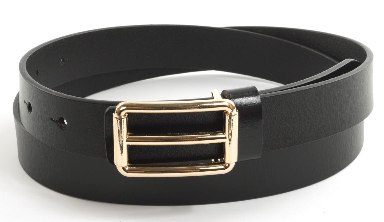Прочный женский стильный кожаный ремень с классической пряжкой 2,5 см  (104578) черный