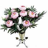Пионовидная роза с листьями пальмы 12 голов 50см.(розовый), фото 3