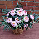 Пионовидная роза с листьями пальмы 12 голов 50см.(розовый), фото 4