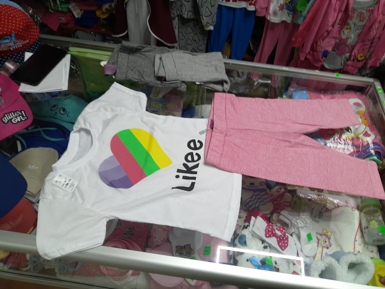 Летний костюм для девочки футболка и удлиненные шорты likee р.92 -128