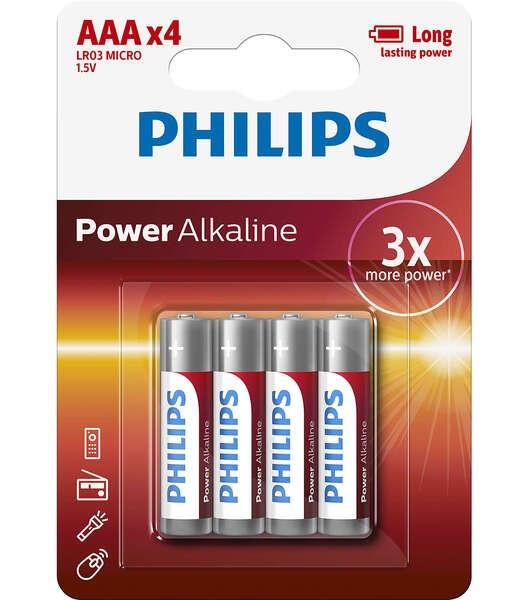Батарейка Philips Power Alkaline AAA BLI 4 (LR03E2B)