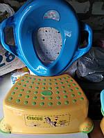 Комплект подставка накладка детские для унитаза умывальника, набор ступенька и вставка, Турция, жёлтый синий, фото 1