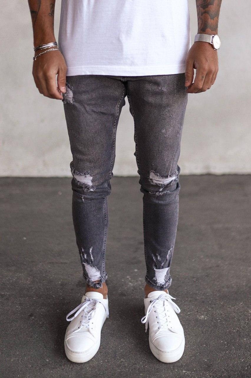 Чоловічі завужені джинси сірого кольору з латками