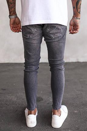 Чоловічі завужені джинси сірого кольору з латками, фото 2
