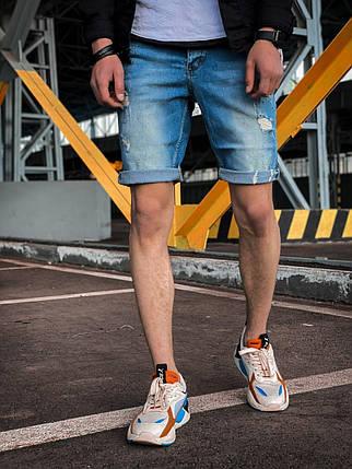 Чоловічі джинсові шорти сині з підворотом і латками, фото 2