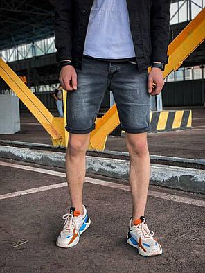 Мужские джинсовые шорты серые потертые с подворотом, фото 2