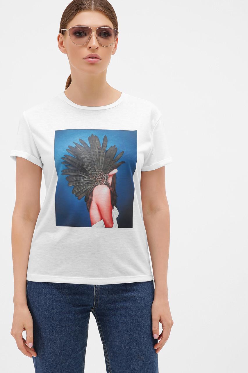 GLEM синий-Перья серые футболка Boy-2
