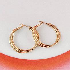 Серьги кольца Xuping Jewelry d 3 см тройные медицинское золото, позолота 18К А/В 4412
