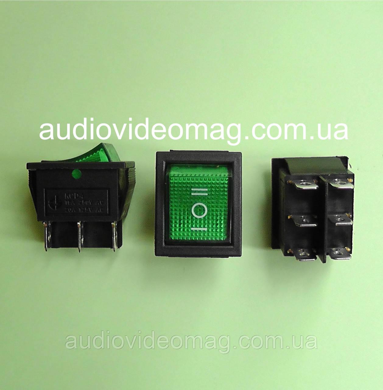 Кнопочный выключатель (кнопка) 28.5 х 22 мм, трехфазный, 250V 15A, зеленый
