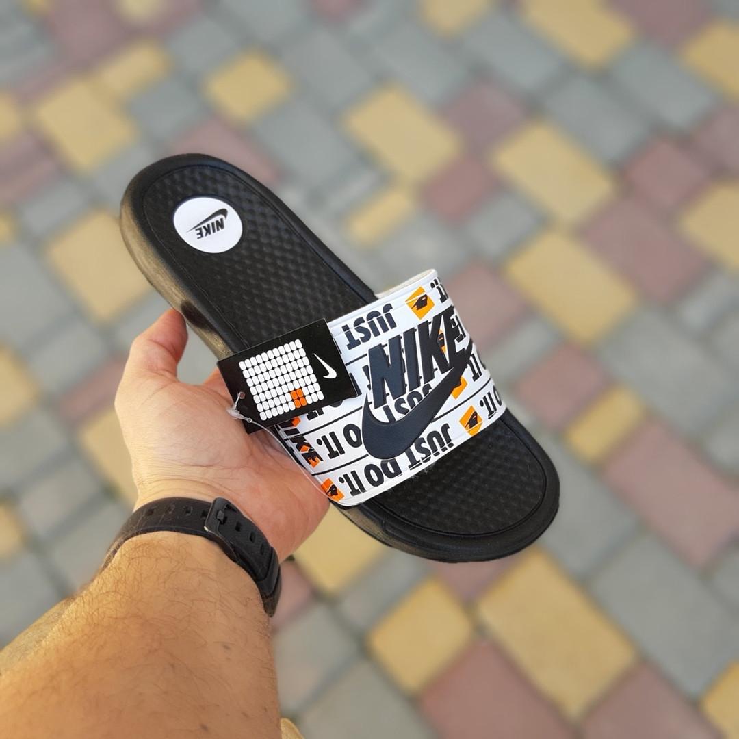 Мужские шлепанцы на лето Nike Just Do IT массажные (черные) 40018