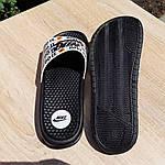 Мужские шлепанцы на лето Nike Just Do IT массажные (черные) 40018, фото 3