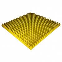 Панель из акустического поролона Ecosound Pyramid Color 70 мм, 100x100 см, желтая