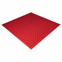 Панель з акустичного поролону Ecosound Pyramid Color 20 мм, 100x100 см, червона