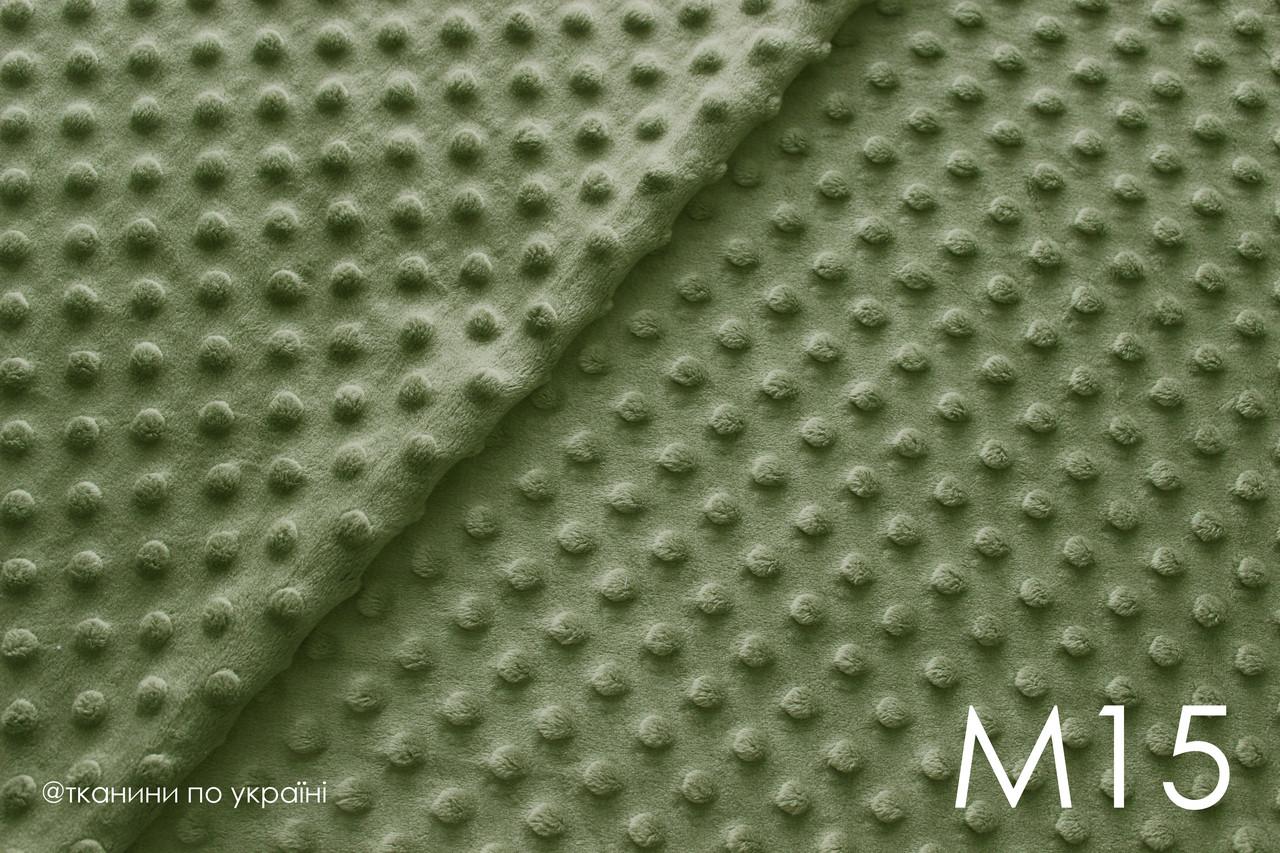 Плюш Minky темно-зеленый в горох