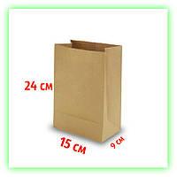 Бумажный крафт пакет без ручек 150х90х240. Коричневый пакет на вынос для еды (50шт в уп.)