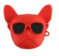 Силиконовый 3D чехол Dog для наушников AirPods Red (062009)