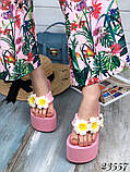 Женские шлепки Джуси лилии,белые,пудра,черные ,на платформе 12,5 см белые, фото 4