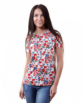 Батальна жіноча футболка в квіти (розміри XS-3XL)