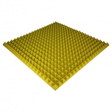 Панель из акустического поролона Ecosound Pyramid Color 50 мм, 100x100 см, желтая