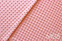 Плюш Minky светло-коралловый в горох, фото 1