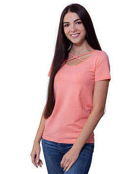 Персиковая летняя футболка женская (размеры XS-3XL)