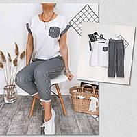 Женский удобный стильный костюм в полоску штаны турецкий лён футболка софт 42-44 44-46 46-48