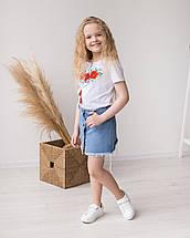 Трикотажна футболка вишиванка для дівчинки Маки, фото 2