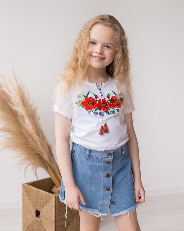 Трикотажна футболка вишиванка для дівчинки Маки