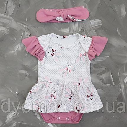 """Детский боди-платье с повязкой """"Зайки на белом"""", фото 2"""