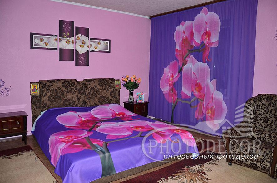 Фото Тюль и покрывало с Орхидеей