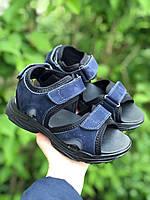 Сандалии детские подростковые синие на липучке, фото 1
