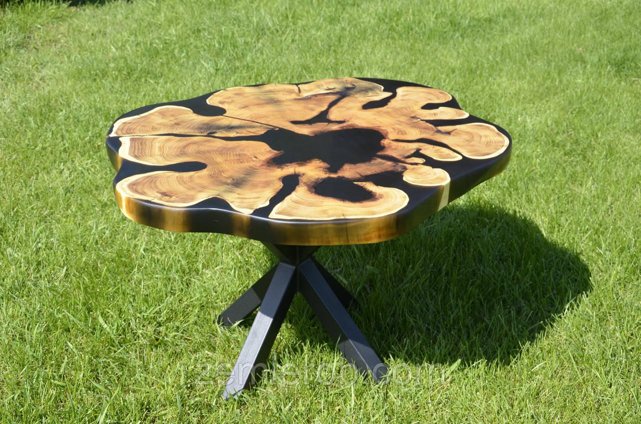 Стол Лофт деревянный с эпоксидной смолой