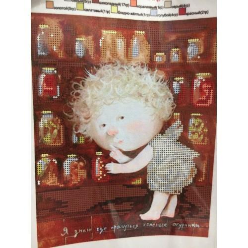 Вышивка бисером, Канва схемы картины Гапчинская Я знаю где прячутся соленые огурчики