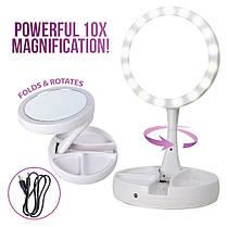 Зеркало с LED подсветкой Круглое складное My Fold Away. Настольное зеркало для макияжа, фото 2