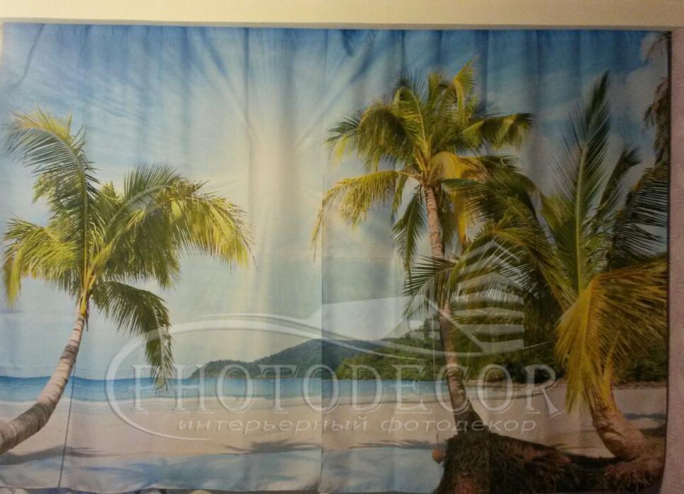 """Фото Шторы """"Пальмы на пляже"""""""