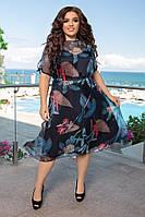 Стильное модное шифоновое платье разлетайка 48-50 52-54 56-58 принт чёрный голубой