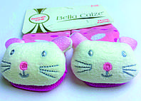 Хлопковые носочки с игрушкой на мыске для детей от 6 месяцев до 12 месяцев Пудровые в белый и малиновый горошек с Мышками