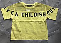 """Стильная подростковая футболка-топ для девочки """"Childish"""" 8-14 лет, цвет уточняйте при заказе, фото 1"""