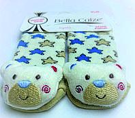 Хлопковые носочки с игрушкой на мыске для детей от 12 месяцев до 18 месяцев Молочные в бежевые и голубые звёздочки с Медведиками