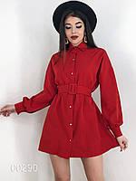 Платье для девушек на пуговицах из крепкостюмки, 00290 (Красный), Размер 44 (M)