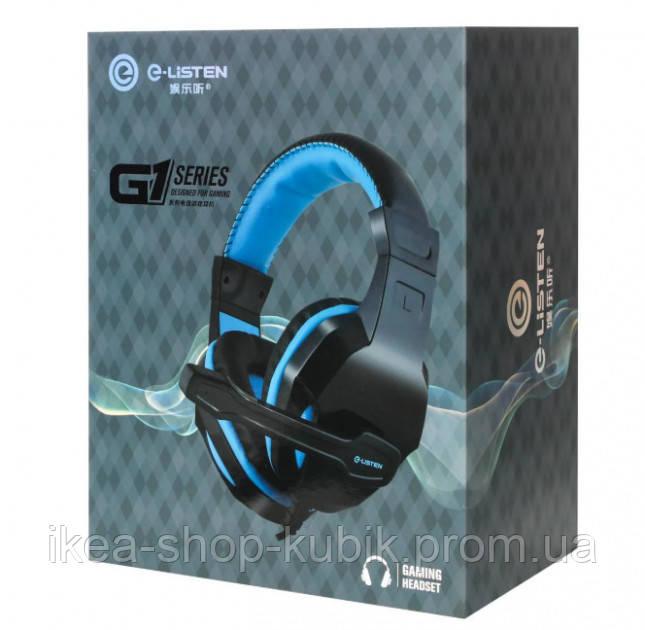 Ігрові дротяні навушники E-LISTEN G1 з мікрофоном Black / Blue (EG1)