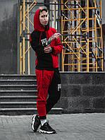 Мужской летний спортивный костюм sad smile черный + красный(Маска в подарок)