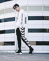 Мужской летний Спортивный костюм Devito+Lil Peep белый+черный(Маска в подарок)