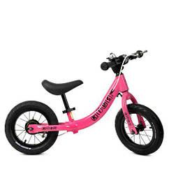 Беговел детский 12д. PROFI KIDS W1202-2 резиновые колеса, метал.обод, розовый