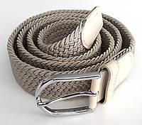 Ремень резинка плетеный 100х3,5 см, светло-серый