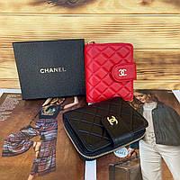 Женский кожаный складной кошелёк в двух расцветках Chanel Шанель реплика