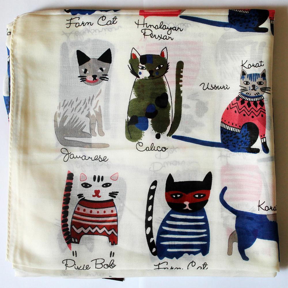 """Шейный платок """"Удачливые котики"""" из натурального материала бамбук"""