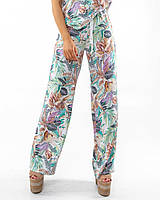 Свободные летние женские штапельные брюки с принтом (Гавайи ri)
