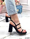Женские яркие босоножки с квадратным каблуком 10 см с ремешками, бежевые, розовые, салатовые, розовые, черные, фото 5