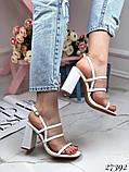 Женские яркие босоножки с квадратным каблуком 10 см с ремешками, бежевые, розовые, салатовые, розовые, черные, фото 7